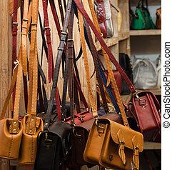 sälja, brun, mode, inköp, läder, ryggsäck, kollektion, wall., sak, hängande, berätta