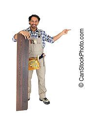 sälja, laminate, försökande, golvmaterial, man