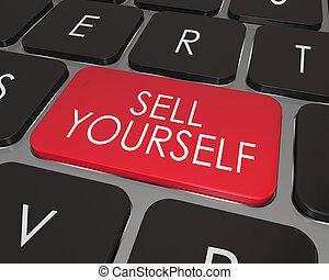 sälja, marknadsföra, dig själv, dator facit, tangentbord, ...
