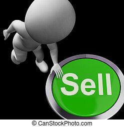 sälja, säljande, affär, knapp, försäljningarna, visar