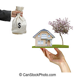 säljande, av, hus