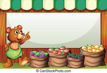 säljande, björn, rektangulär, mall, frukter, tom