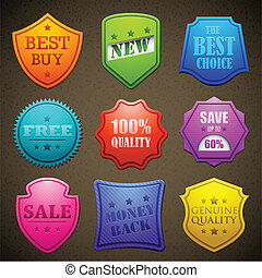 säljande, emblem, färgrik