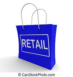 säljande, inköp, försäljningarna, väska, uppköp, berätta, handelsvaror, visar