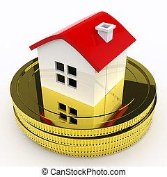 säljande, medel, hus, köper, pengar, egenskap, eller