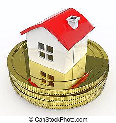 säljande, medel, hus, köper, pengar, egenskap
