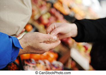 säljande, och, uppköp, på, marknaden, plats
