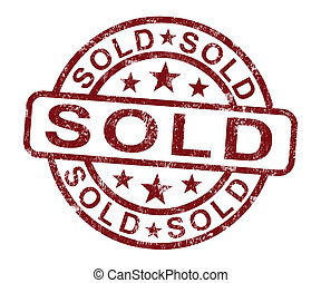 säljande, stämpel, såld, köper, eller, visar