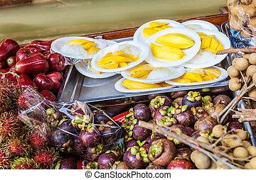 säljande, tropical frukter