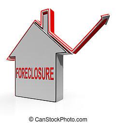 säljande, utmätning, hus, långivare, repossessing, visar
