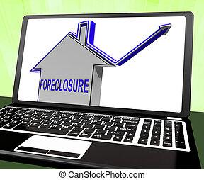 säljande, utmätning, hus, laptop, långivare, repossessing, visar