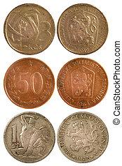 sällsynt, årgång, mynter, av, tjeckoslovakien