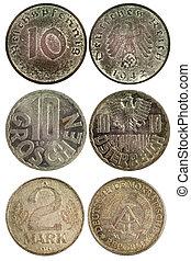 sällsynt, årgång, mynter, av, tyskland