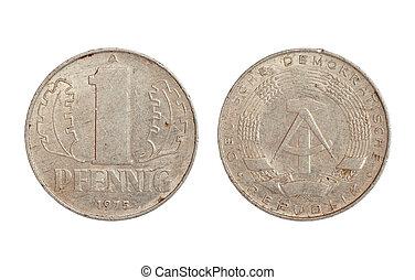 sällsynt, mynt, av, demokratisk, tyskland, republik