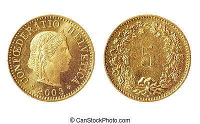 sällsynt, mynt, av, schweiz