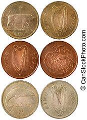 sällsynt, olik, mynter, av, irland