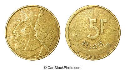 sällsynt, retro, mynt, av, belgien