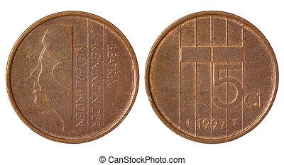 sällsynt, retro, mynt, av, nederländerna
