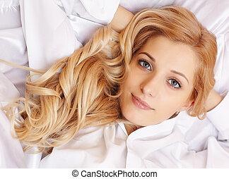 säng, blondin, kvinna, ung