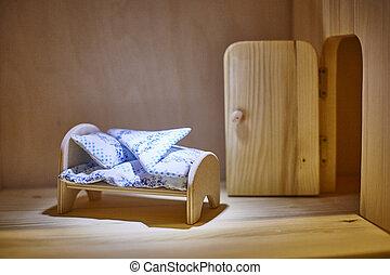 säng, dollhouse., kryssfaner, filtar, kuddar, docka, miniatyr