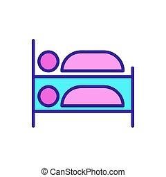 säng, kontur, ikon, symbol, illustration, brits, isolerat, vector.