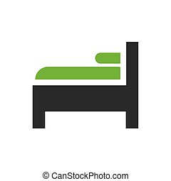 säng, kudde, isolerat, forniture, ikon