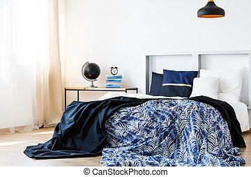 säng, med, huvudgavel
