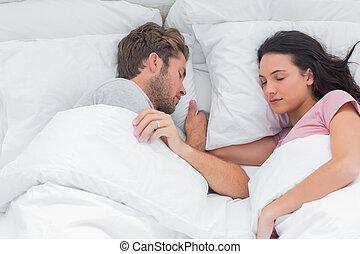 säng, par, sova