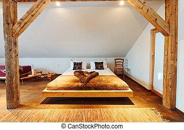 säng, sovrum, heminredning, nymodig