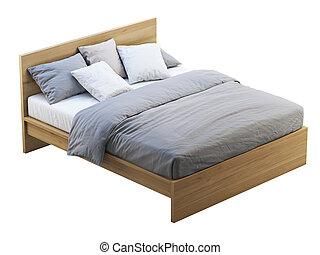 säng, storage., render, 3, dubbel, trä