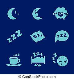 säng, vektor, måne, sömn, isolerat, sätta, begrepp, vit, zzz, sheep, ikonen, kudde