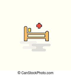 säng, vektor, sjukhus, icon., lägenhet