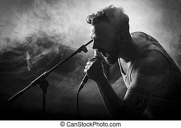 sänger, in, hardrock, concert