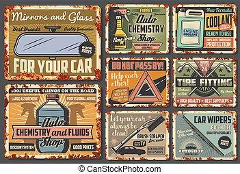 särar, reservdel, tillbehör, bil, fordon, vektor, rostig