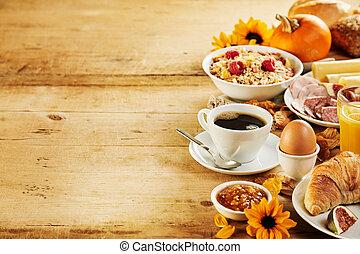 säsongbetonad, höst, frukost, gräns, interkontinental