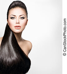 sätt modellera, flicka, med, länge, hälsosam, rakt hår