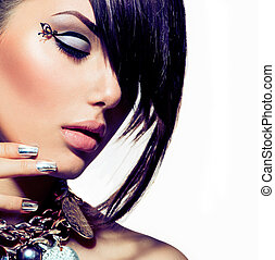 sätt modellera, flicka, portrait., toppmodern, hårtuppsättning