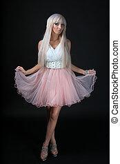 sätt modellera, med, barbie, docka, smink