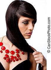 sätt modellera, stående, med, smycken