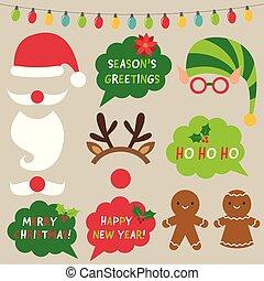 sätta, älva, foto, reindeer), dekoration, bås, egenskaper, (santa, jul