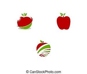 sätta, äpple, illustration, vektor, design, mall, logo, ikon