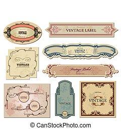 sätta, årgång, etiketter, vektor, din, design.