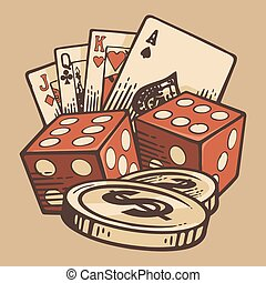 sätta, årgång, kasino, handgjord, symbols., vektor, retro, ...