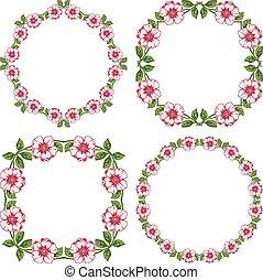 sätta, årgång, runda, blommig, bakgrund, inramar, transparent