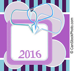 sätta, abstrakt, år, design, färsk, anförande, bubblar, 2016, kort