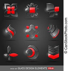 sätta, abstrakt, -, glas, vektor, formge grundämnen