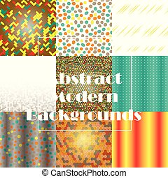 sätta, abstrakt, pattern., seamless, vektor, bakgrund, geometrisk, design.