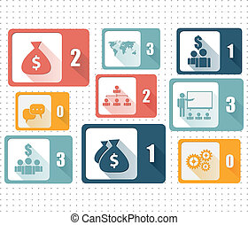 sätta, affärsverksamhet ikon, -, illustration, vektor, design