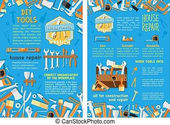 sätta, affisch, verktyg, arbete, konstruktion, reparera hemma