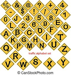 sätta, alfabet, isolerat, illustration, numrera, vektor, trafik, gul, undertecknar, eller, väg